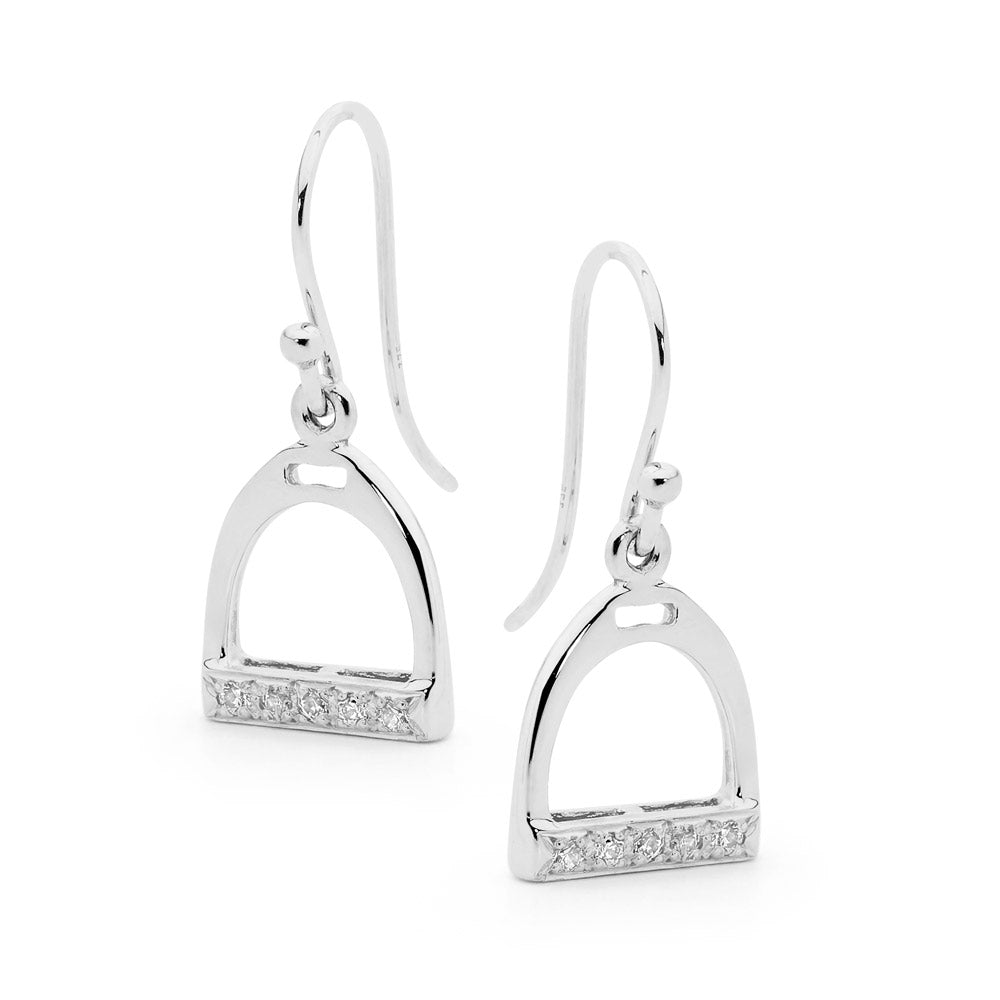 Silver Shepard Hook Stirrup Earrings