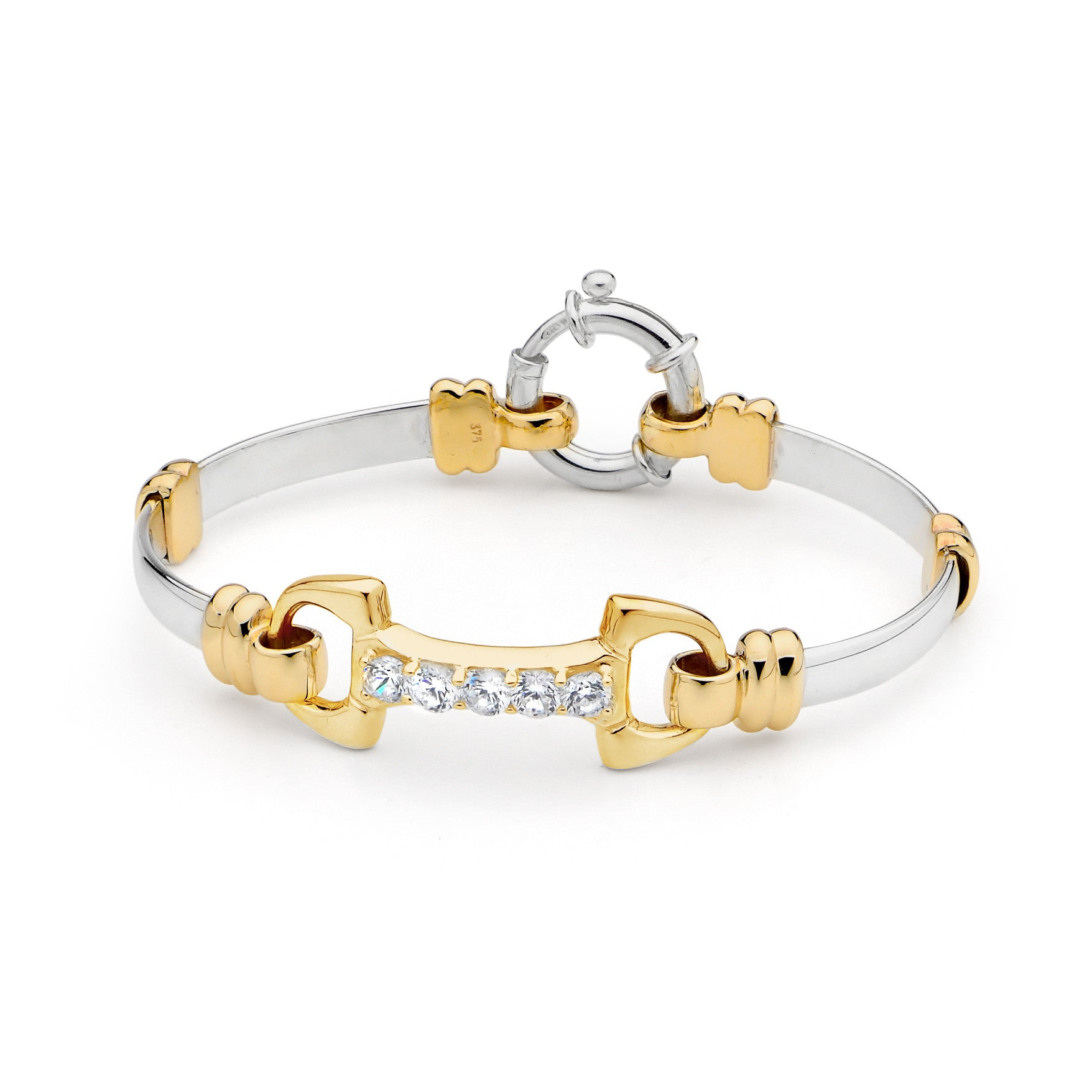 Fitted Yellow Gold Bit with Cubic Zirconia Sterling Silver Bracelet - 9ct Yellow Gold Accents on Sterling Silver