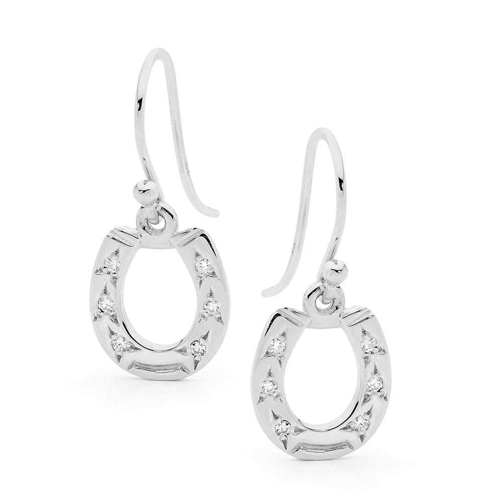 Shepherd Hook Horseshoe Earrings