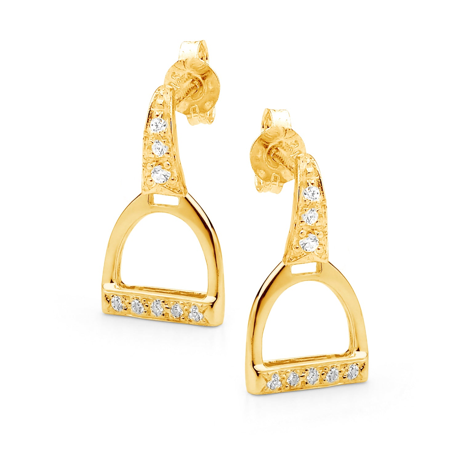 Stone Set Stirrup Earrings