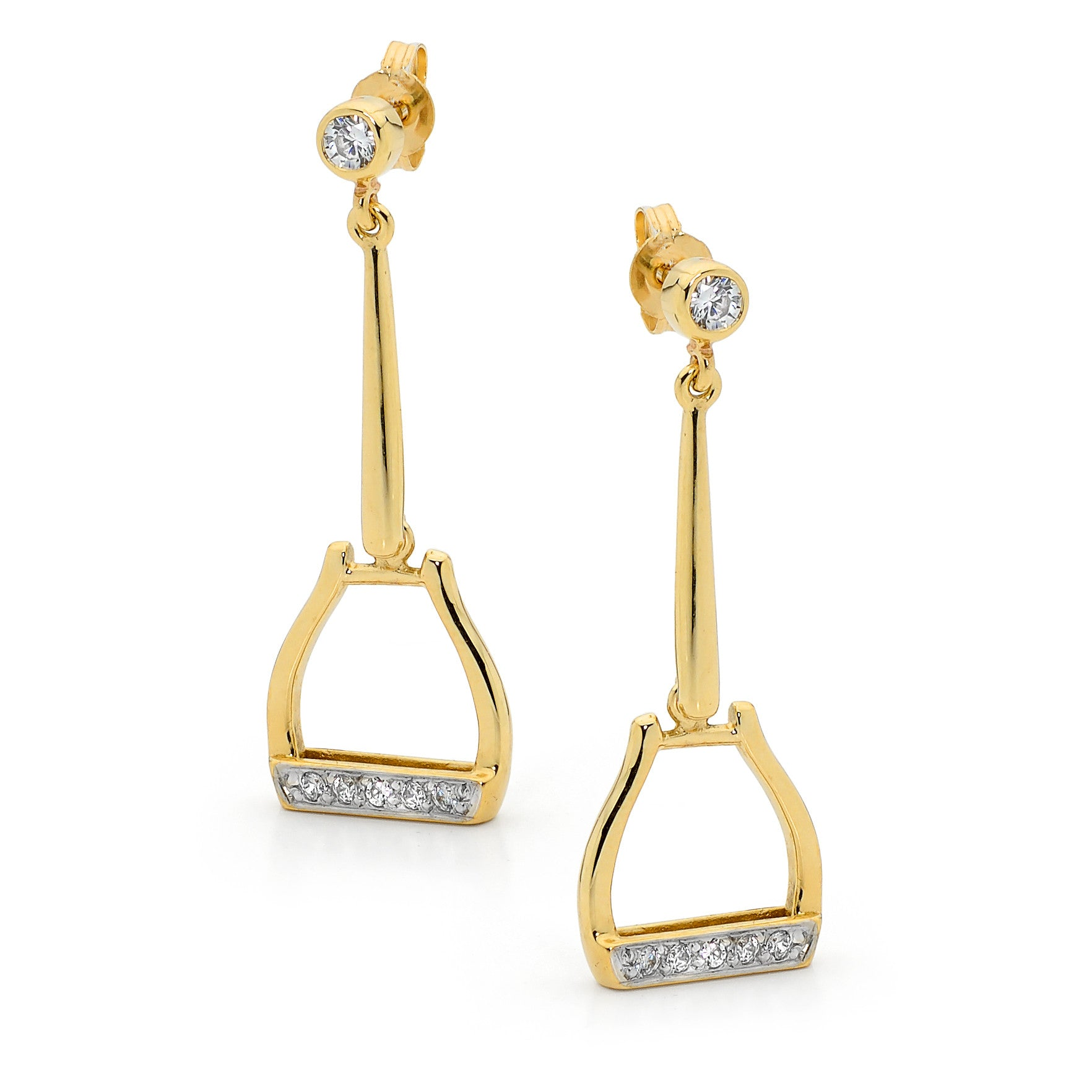 Oxbow Drop Stirrup Earrings