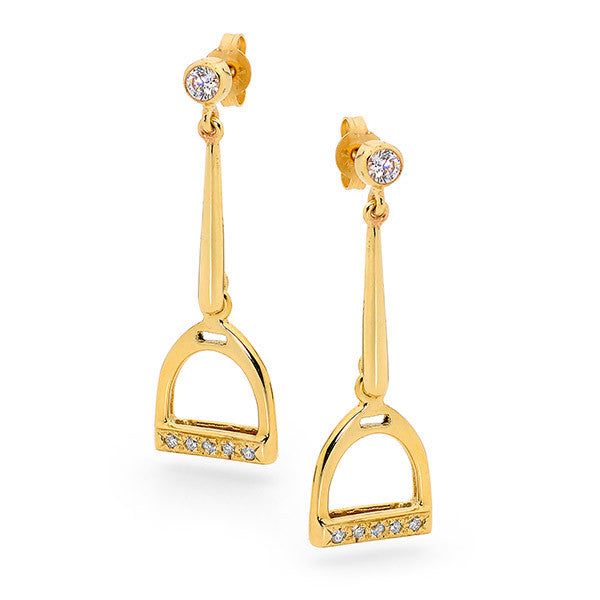 Drop Stirrup Earrings - 9ct Yellow Gold