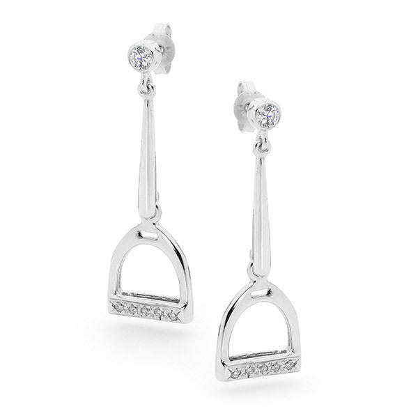 Drop Stirrup Earrings - Sterling Silver