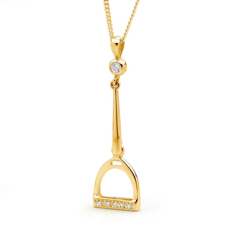 Drop Stirrup Pendant - 9ct Yellow Gold