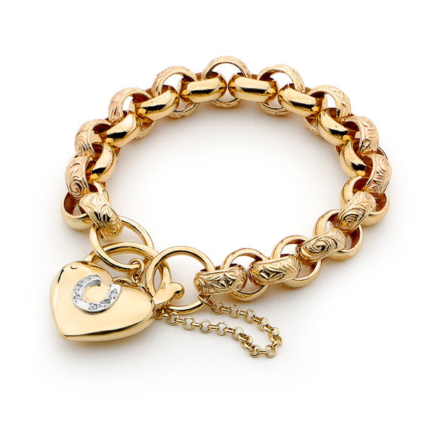Medium Solid Link Bracelet with Horseshoe Padlock