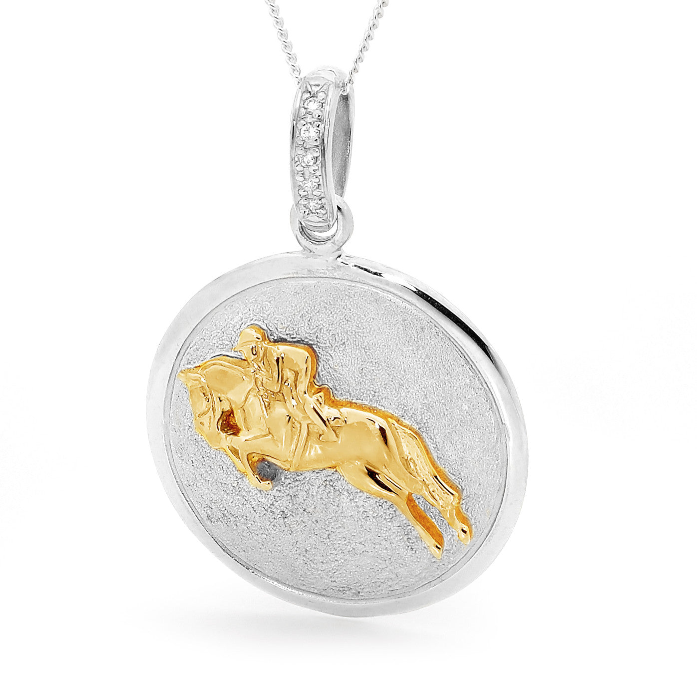 Showjumper Pendant - 9ct Yellow Gold Accent on Sterling Silver