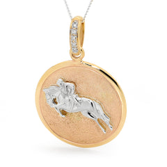 Showjumper Pendant - 9ct White Gold Accent on 9ct Yellow Gold