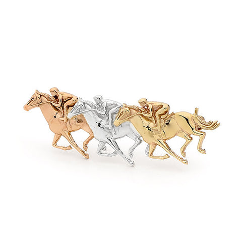 Multi-Gold Raceshorse Brooch