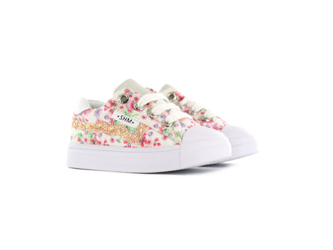 Sneakers - White with Pink Flowers