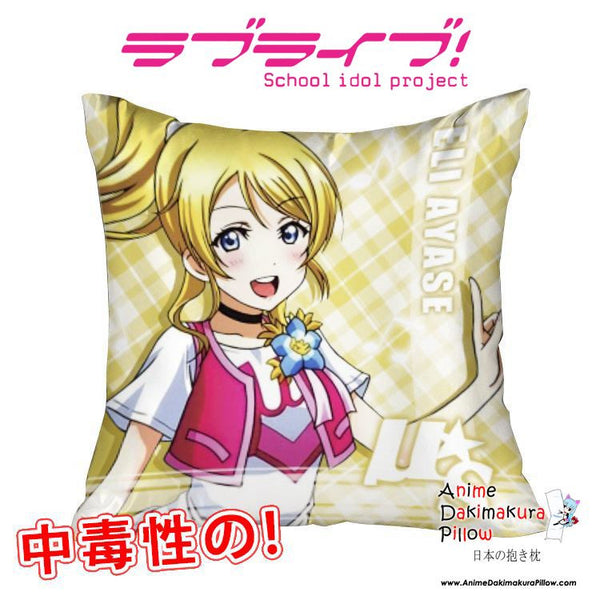 New Ayase Eli - Love Live 40x40cm Square Anime Dakimakura Waifu Throw Pillow Cover GZFONG102 - Anime Dakimakura Pillow Shop | Fast, Free Shipping, Dakimakura Pillow & Cover shop, pillow For sale, Dakimakura Japan Store, Buy Custom Hugging Pillow Cover - 1