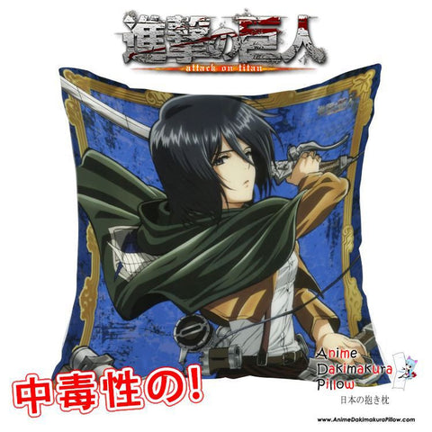New Mikasa Ackerman - Attack on Titan 40x40cm Square Anime Dakimakura Waifu Throw Pillow Cover GZFONG147 - Anime Dakimakura Pillow Shop | Fast, Free Shipping, Dakimakura Pillow & Cover shop, pillow For sale, Dakimakura Japan Store, Buy Custom Hugging Pillow Cover - 1