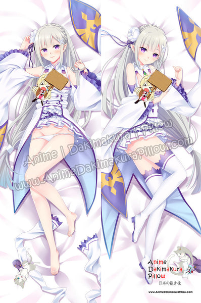 New Emilia -Re Zero Anime Dakimakura Japanese Hugging Body Pillow Cover ADP-16214A - Anime Dakimakura Pillow Shop | Fast, Free Shipping, Dakimakura Pillow & Cover shop, pillow For sale, Dakimakura Japan Store, Buy Custom Hugging Pillow Cover - 1
