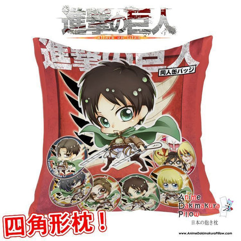 New Attack on Titan Shingeki no Kyojin Anime Dakimakura Square Pillow Cover GZFONG299 - Anime Dakimakura Pillow Shop | Fast, Free Shipping, Dakimakura Pillow & Cover shop, pillow For sale, Dakimakura Japan Store, Buy Custom Hugging Pillow Cover - 1