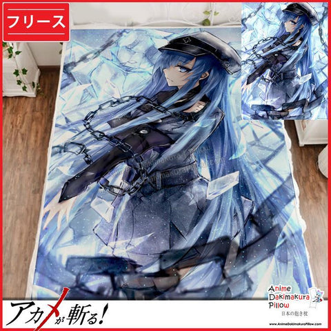New Esdeath - Akame ga Kill Japanese Anime Fleece Flannel Bed Throws GZFONG321 - Anime Dakimakura Pillow Shop | Fast, Free Shipping, Dakimakura Pillow & Cover shop, pillow For sale, Dakimakura Japan Store, Buy Custom Hugging Pillow Cover - 1