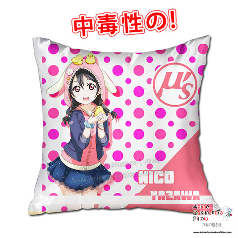 New Yazawa Nico - Love Live 40x40cm Square Anime Dakimakura Throw Pillow Cover GZFONG426 - Anime Dakimakura Pillow Shop | Fast, Free Shipping, Dakimakura Pillow & Cover shop, pillow For sale, Dakimakura Japan Store, Buy Custom Hugging Pillow Cover - 1