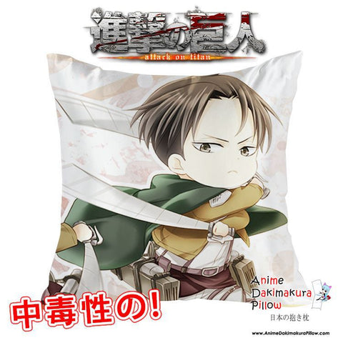 New Levi Ackerman - Attack on Titan 40x40cm Square Anime Dakimakura Waifu Throw Pillow Cover GZFONG65 - Anime Dakimakura Pillow Shop | Fast, Free Shipping, Dakimakura Pillow & Cover shop, pillow For sale, Dakimakura Japan Store, Buy Custom Hugging Pillow Cover - 1