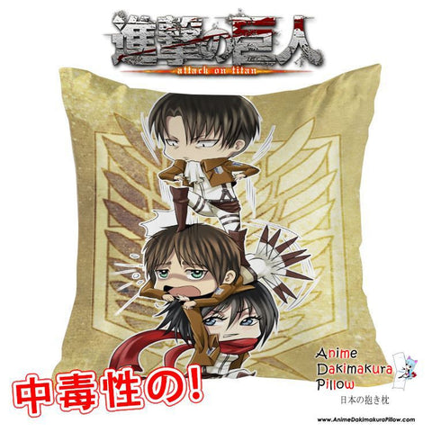 New Attack on Titan 40x40cm Square Anime Dakimakura Waifu Throw Pillow Cover GZFONG91 - Anime Dakimakura Pillow Shop | Fast, Free Shipping, Dakimakura Pillow & Cover shop, pillow For sale, Dakimakura Japan Store, Buy Custom Hugging Pillow Cover - 1