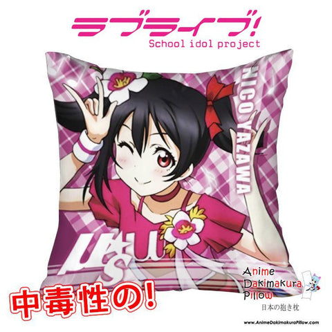 New Nico Yazawa - Love Live 40x40cm Square Anime Dakimakura Waifu Throw Pillow Cover GZFONG96 - Anime Dakimakura Pillow Shop | Fast, Free Shipping, Dakimakura Pillow & Cover shop, pillow For sale, Dakimakura Japan Store, Buy Custom Hugging Pillow Cover - 1
