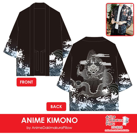 ADP Japanese Sea Dragon Anime Kimono Cardigan Unisex Japanese Cosplay Silk Printed Harajuku Style Tops ADP110004
