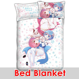 New Rem and Ram - Re Zero Japanese Anime Bed Blanket or Duvet Cover with Pillow Covers ADP-CP160808