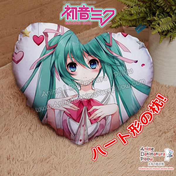 New Miku Hatsune - Vocaloid Anime Japanese Heart Shaped Stuffed Plush Throw Pillow Cover GZFONG536