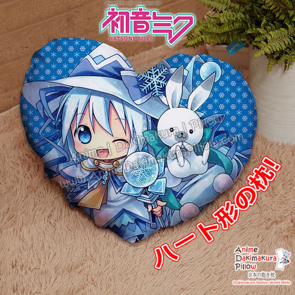 New Snow Miku Hatsune - Vocaloid Chibi Anime Japanese Heart Shaped Stuffed Plush Throw Pillow Cover GZFONG537 - Anime Dakimakura Pillow Shop | Fast, Free Shipping, Dakimakura Pillow & Cover shop, pillow For sale, Dakimakura Japan Store, Buy Custom Hugging Pillow Cover - 1