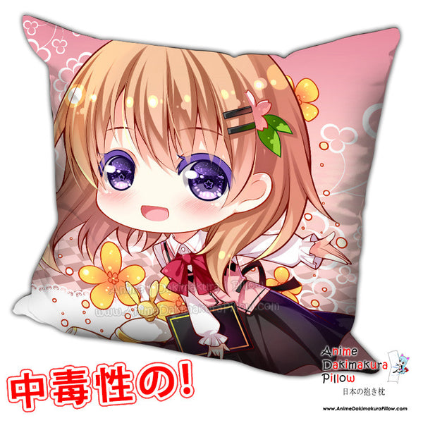 New Hoto Kokoa - Is the Order Rabbit Anime Dakimakura Square Pillow Cover H0208 - Anime Dakimakura Pillow Shop | Fast, Free Shipping, Dakimakura Pillow & Cover shop, pillow For sale, Dakimakura Japan Store, Buy Custom Hugging Pillow Cover - 1
