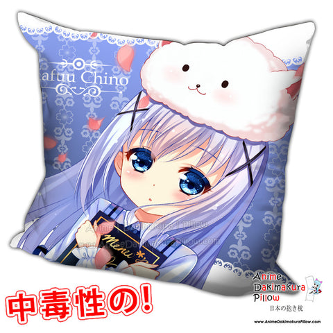 New Chino Kafuu - Is the Order Rabbit Anime Dakimakura Square Pillow Cover H0213 - Anime Dakimakura Pillow Shop | Fast, Free Shipping, Dakimakura Pillow & Cover shop, pillow For sale, Dakimakura Japan Store, Buy Custom Hugging Pillow Cover - 1