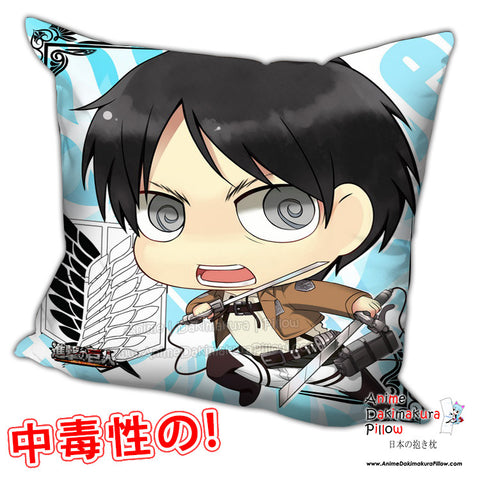 New Eren Jaeger - Attack on Titan Anime Dakimakura Square Pillow Cover H0256 - Anime Dakimakura Pillow Shop | Fast, Free Shipping, Dakimakura Pillow & Cover shop, pillow For sale, Dakimakura Japan Store, Buy Custom Hugging Pillow Cover - 1