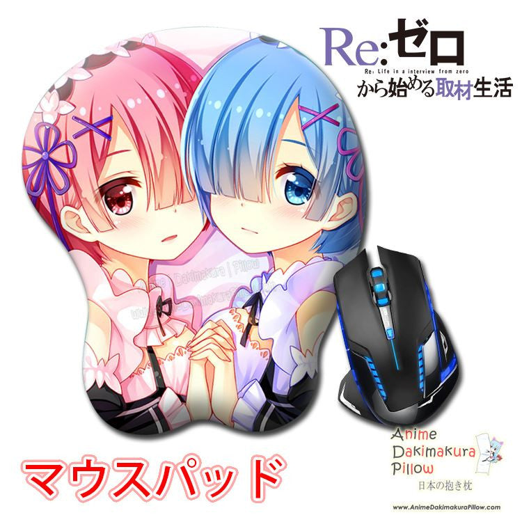 New Rem and Ram - Re Zero Anime Ergonomic 3D Mouse Pad Sexy Butt Wrist Rest Oppai H0514