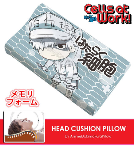 New U-1146 White Blood Cell - Cells at Work Japanese Anime Head Cushion Pillow Deluxe Memory Soft Head Foam H190003