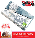 New U-1146 White Blood Cell - Cells at Work Japanese Anime Head Cushion Pillow Deluxe Memory Soft Head Foam H190008