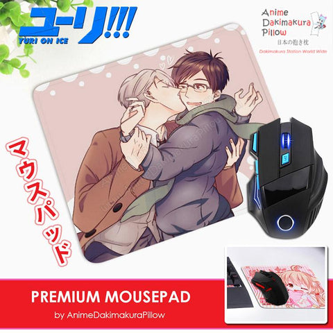 ADP Victor and Yuuri - Yuri on Ice Anime Premium Mousepad Standard Size Stitched Edge Mouse Pad Non-Slip Professional Gaming Desk Pad H210019