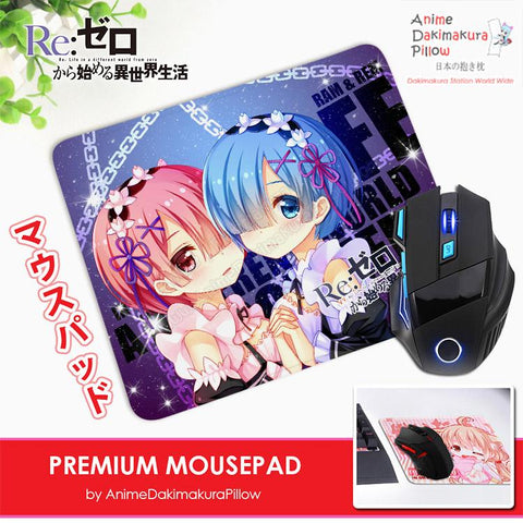 ADP Rem and Ram - Re Zero Anime Premium Mousepad Standard Size Stitched Edge Mouse Pad Non-Slip Professional Gaming Desk Pad H210047