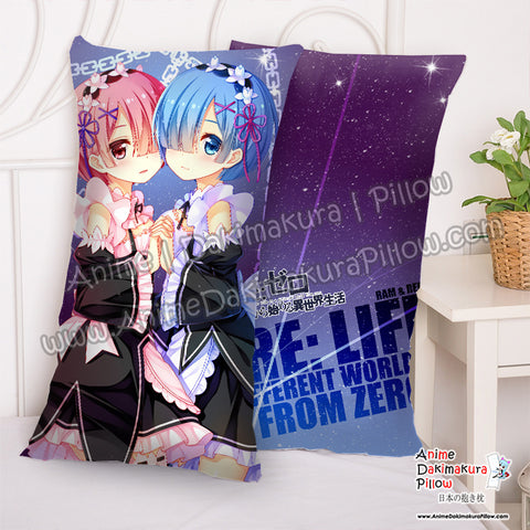 New Ram and Rem - Re Zero Anime Dakimakura Rectangle Pillow Cover H5000006