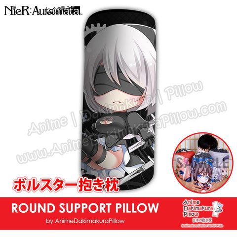 New-2B-NieR-Automata-Japanese-Anime-Comfort-Neck-and-Support-Mini-Round-Roll-Bolster-Dakimakura-Pillow-H800147