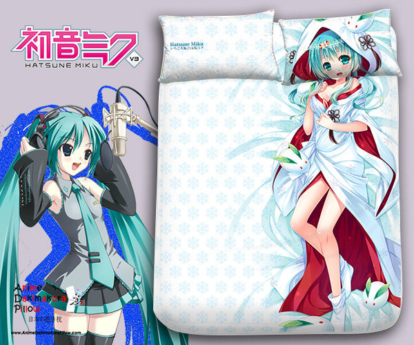 New Hatsune Miku Snow - Vocaloid Japanese Anime Bed Blanket or Duvet Cover with Pillow Covers Blanket 5