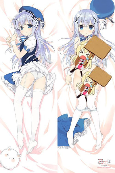 New Is The Order A Rabbit? Chino Kafuu  Anime Dakimakura Japanese Pillow Cover H2894 - Anime Dakimakura Pillow Shop | Fast, Free Shipping, Dakimakura Pillow & Cover shop, pillow For sale, Dakimakura Japan Store, Buy Custom Hugging Pillow Cover - 1