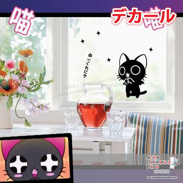 New Kawaii Black Cat Anime Wall Decal Japanese Waterproof Vinyl Sticker OSK033