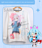 New Emilia - Re Zero Anime Round Neck Long Sleeve Pullover Sweater H140001