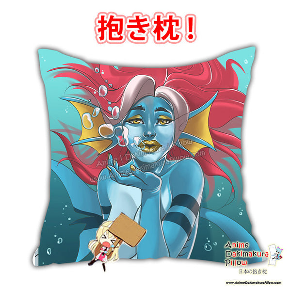 New Sexy Blue Sea Creature with Resd Hair Anime Dakimakura Square Pillow Cover Custom Designer Furlana ADC719