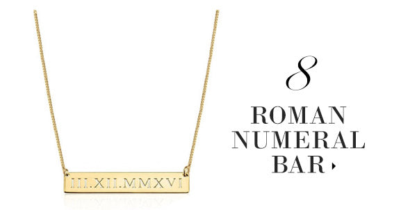 olive + piper Custom Personalized Engraved Roman Numeral Bar Necklace