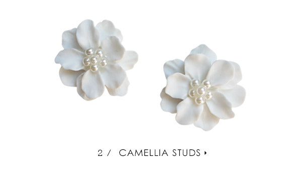 olive + piper Camellia Floral Stud Earrings
