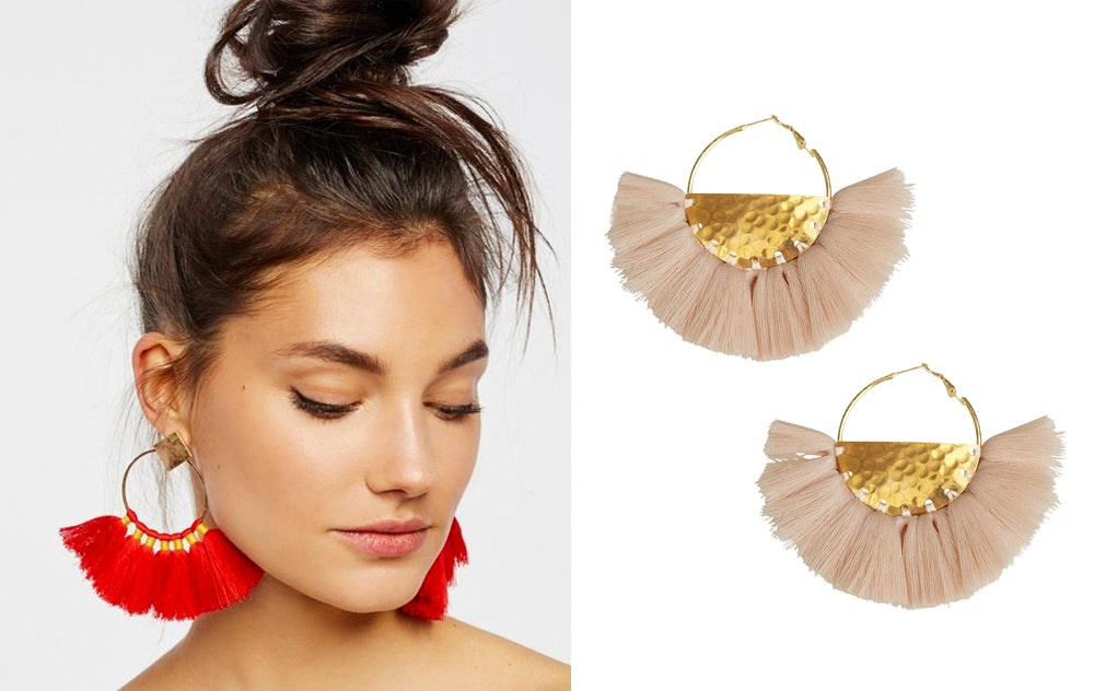 5 Ways to Wear Tassel Earrings for Fall: High Bun Selfie
