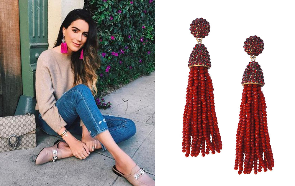 5 Ways to Wear Tassel Earrings for Fall: Netural with a pop of color