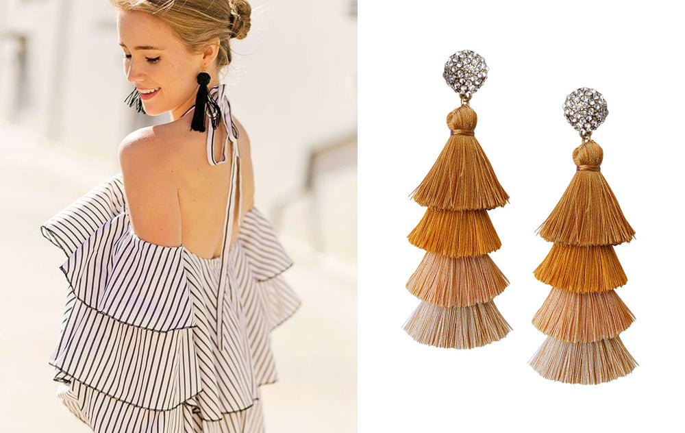 5 Ways to Wear Tassel Earrings for Fall: Classic Stripes