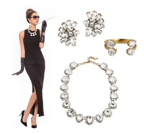 How to wear jewelry with your halloween costume: Audrey Hepburn