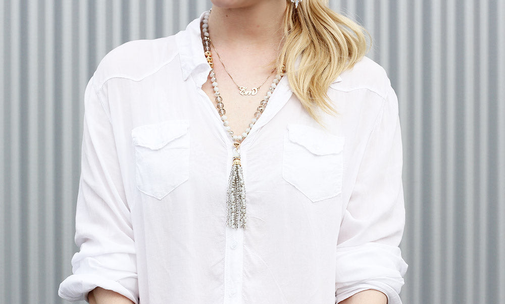 olive + piper rebecca tassel beaded layering necklace