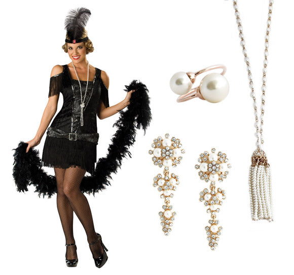How to wear jewelry with your halloween costume: Flapper Girl