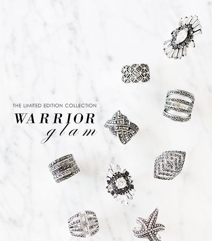 olive + piper Warrior Glam: Limited Edition Vintage-Inspired Sterling Silver and Marcasite Jewelry